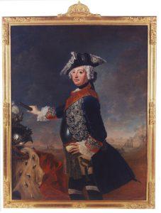 Friedrich der II., der Große. König von Preußen, 1712 bis 1786. Staatsporträt von A. D. Therbousch von Liszewski, 1753. Abschiedsgeschenk des Königs an seinen Minister Graf von Podewils. (Sammlungen Schloss Birken)