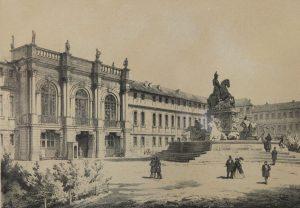 Das markgräfliche Neue Schloss in Bayreuth. Erbaut ab 1753 bis 1755. Von Sant Pierre. Kreidelitho von H. Stelzner, 19. Jh. (Sammlungen Schloss Birken)