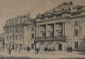 Markgräfliches Opernhaus, erbaut 1745 bis 48 von Joseph Sant-Pierre. Innenausgestaltung durch Giuseppe Bibiena. Kreidelitho von H. Stelzner. (Sammlungen Schloss Birken).