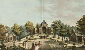 Sanspareil. Der Morgenländische Bau mit Gartenparterre. Kolorierter Stich von Johann Gottfried Kuppel, 1793. (Sammlungen Schloss Birken)