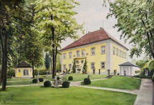 Foto Parkseite Schloss Birken (Sammlungen Schloss Birken) rechts: Führungen 1.April - 15.Oktober, jeweils Dienstag u. Samstag 11 und 14 Uhr.