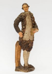 Rokoko-Kavalier. Muschelplastik auf Holz, Venedig, 18. Jh. Reisesouvenir der Markgräfin Wilhelmine, 1754. (Sammlungen Schloss Birken)
